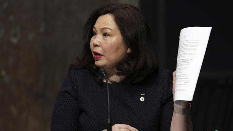 In this May 6, 2020, file photo, Sen. Tammy Duckworth, D-Ill., speaks during a hearing on Capitol Hill in Washington. (Greg Nash / Pool via AP)