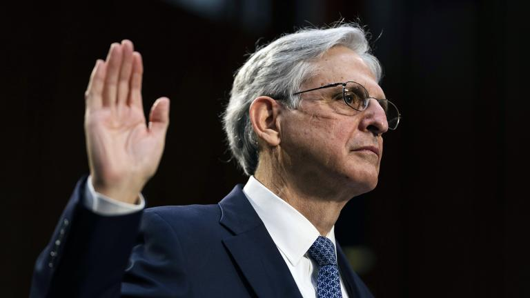 Judge Merrick Garland, nominee to be attorney general, testifies at his confirmation hearing before the Senate Judiciary Committee, Monday, Feb. 22, 2021 on Capitol Hill in Washington. (Demetrius Freeman / The Washington Post via AP, Pool)