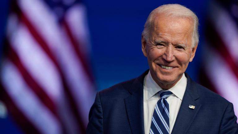In this Nov. 10, 2020, file photo President-elect Joe Biden smiles as he speaks at The Queen Theater in Wilmington, Del. (AP Photo / Carolyn Kaster, File)