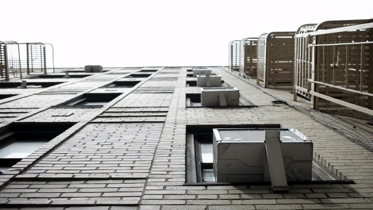This May 16, 2021, photo shows window air conditioners in New York. (AP Photo / Jenny Kane)