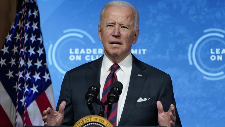 President Joe Biden speaks to the virtual Leaders Summit on Climate, from the East Room of the White House, Thursday, April 22, 2021, in Washington. (AP Photo / Evan Vucci)