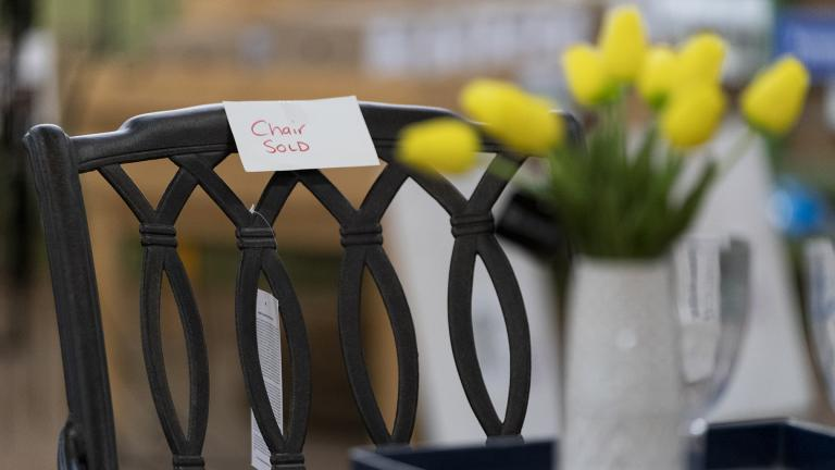 In this July 6, 2021, photo a sign is seen on a sold patio furniture floor model at Valley View Farms in Cockeysville, Md. (AP Photo / Julio Cortez)