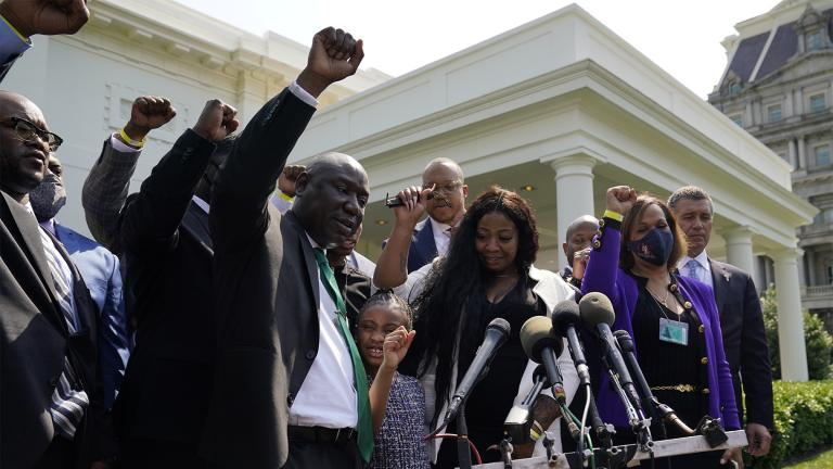 Benjamin Crump, front center, along with Gianna Floyd, daughter of George Floyd, and her mother Roxie Washington, and others talk with reporters after meeting with President Joe Biden at the White House, Tuesday, May 25, 2021, in Washington. (AP Photo / Evan Vucci)