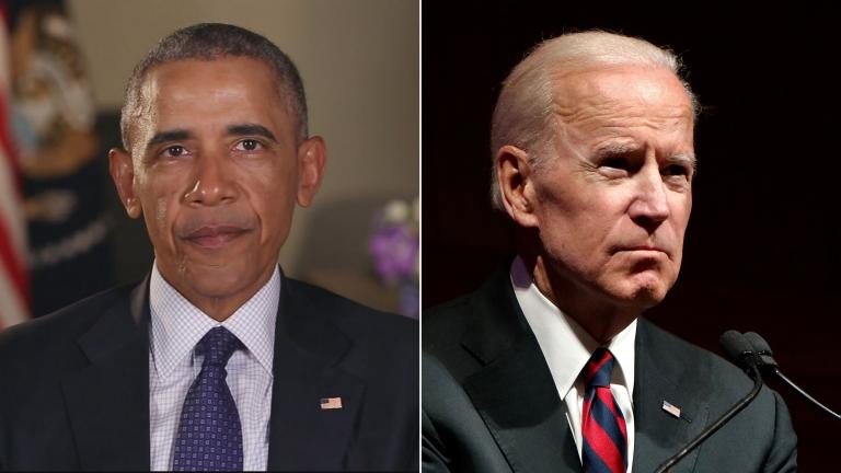 Former President Barack Obama delivers a video message in January 2017 (Courtesy whitehouse.gov); and former Vice President Joe Biden speaks at Northwestern University in Chicago on March 9, 2018. (Evan Garcia / WTTW News)
