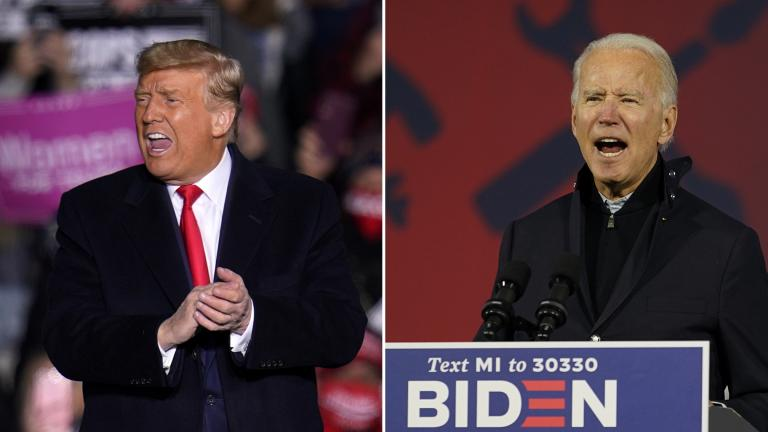 President Donald Trump, left, at a campaign rally in Pennsylvania on Oct. 20, 2020; and Democratic presidential candidate Joe Biden in Michigan on Oct. 16, 2020. (AP Photos by Gene J. Puskar, Carolyn Kaster)