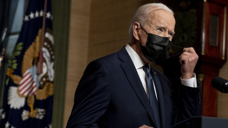 In this Wednesday, April 14, 2021, file photo, President Joe Biden removes his mask to speak at a news conference at the White House, in Washington. (AP Photo / Andrew Harnik, Pool, File)