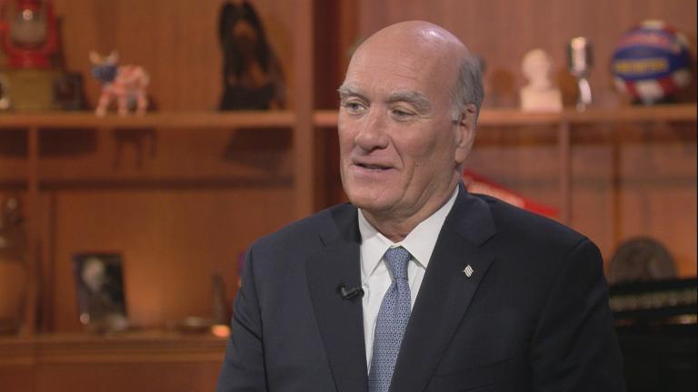 "Former U.S. Commerce Secretary and White House chief of staff Bill Daley appears on ""Chicago Tonight"" on Sept. 17, 2018. (WTTW News)"