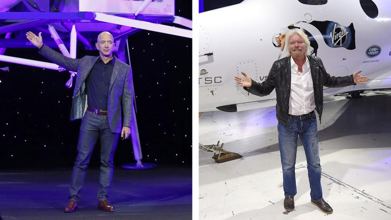 This combination of 2019 and 2016 file photos shows Jeff Bezos with a model of Blue Origin's Blue Moon lunar lander in Washington, left, and Richard Branson with Virgin Galactic's SpaceShipTwo space tourism rocket in Mojave, Calif. (AP Photo / Patrick Semansky, Mark J. Terrill)