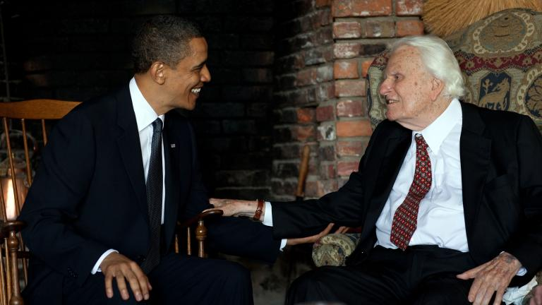 President Barack Obama meets with Rev. Billy Graham at his house in Montreat, N.C., April 25, 2010. (Official White House Photo by Pete Souza)