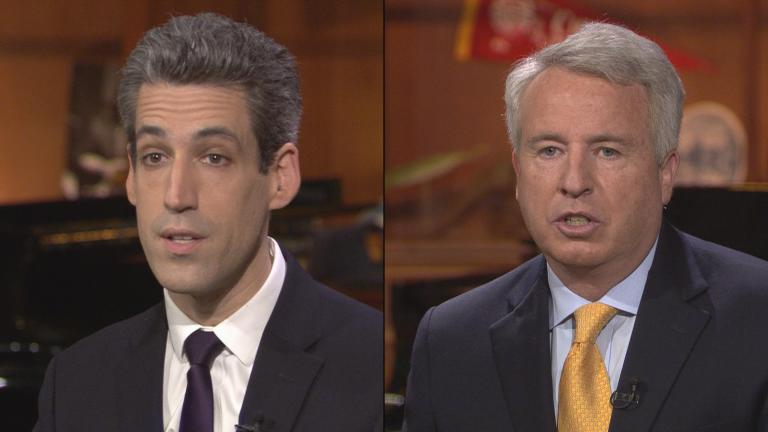 Democratic candidates for governor Daniel Biss, left, and Chris Kennedy participate in a candidate forum at WTTW on Monday.