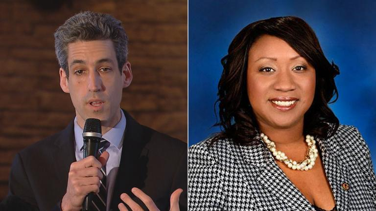 Left: Daniel Biss speaks to Cook County Democratic committeemen on March 27, 2017. (Chicago Tonight). Right: On Friday, Biss announced his new running mate, state Rep. Litesa Wallace. (Litesa Wallace / Facebook)