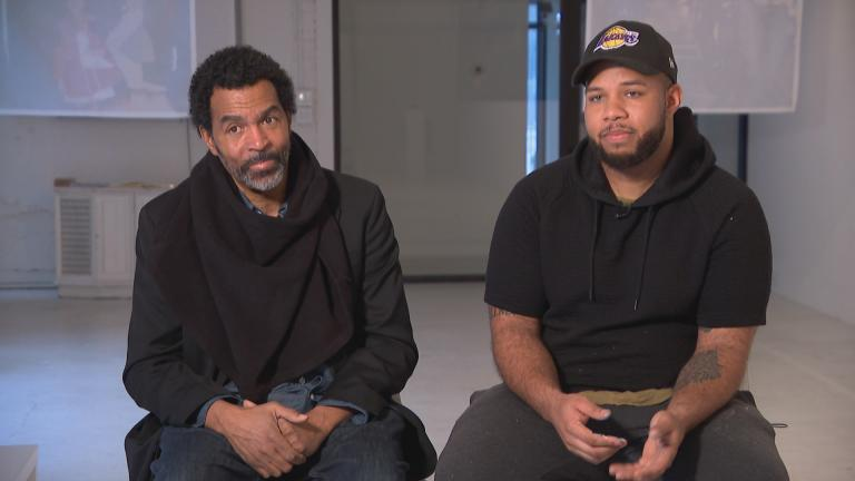 Artists Arthur Wright, left, and Blake Lenoir speak with WTTW News about the Black Creativity exhibit.