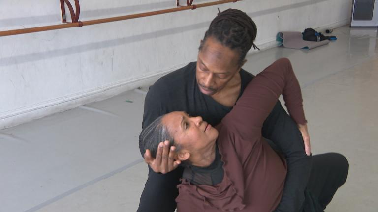 "Dancers Tracey Hodgkin-Valcy and Merrick Mitchell rehearse a duet for ""Lineage: The Black Dance Legacy Project."" (WTTW News)"