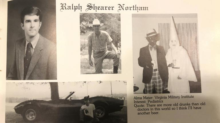 This image shows Virginia Gov. Ralph Northam's page in his 1984 Eastern Virginia Medical School yearbook, including a picture, at right, of a person in blackface and another wearing a Ku Klux Klan hood. (Eastern Virginia Medical School via AP)
