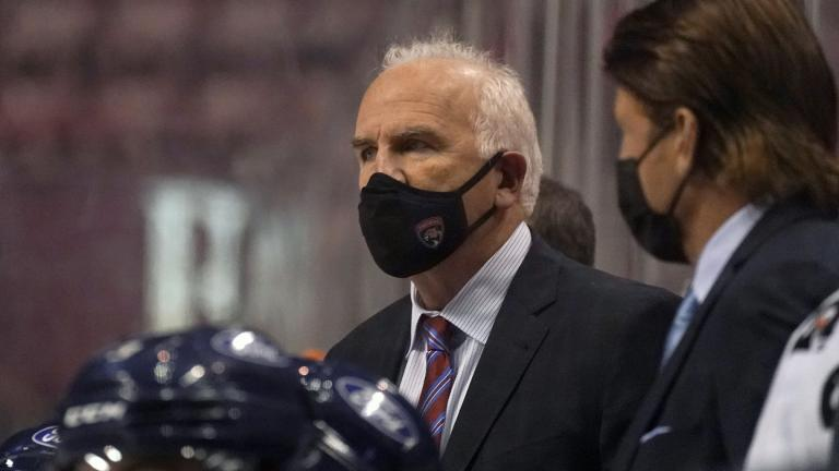 In this Friday, Feb. 5, 2021 file photo, Florida Panthers head coach Joel Quenneville looks on during the third period of an NHL hockey game against the Nashville Predators in Sunrise, Fla. (AP Photo / Wilfredo Lee, File)