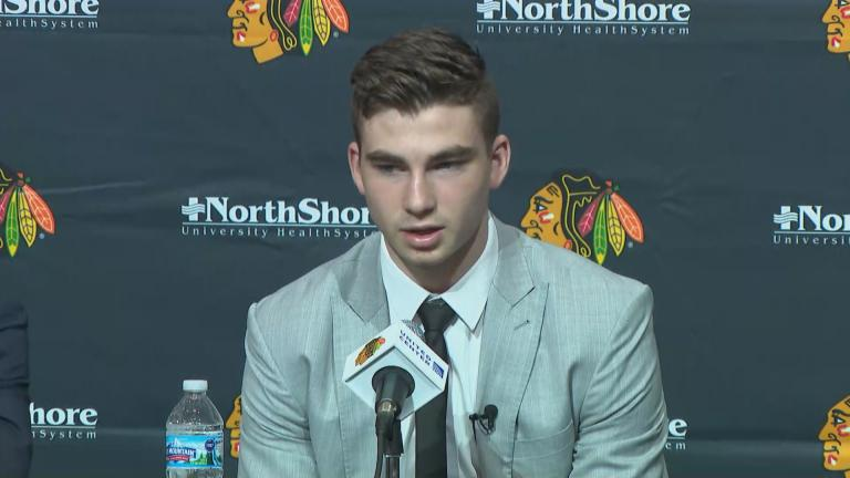 Blackhawks top draft pick Kirby Dock.