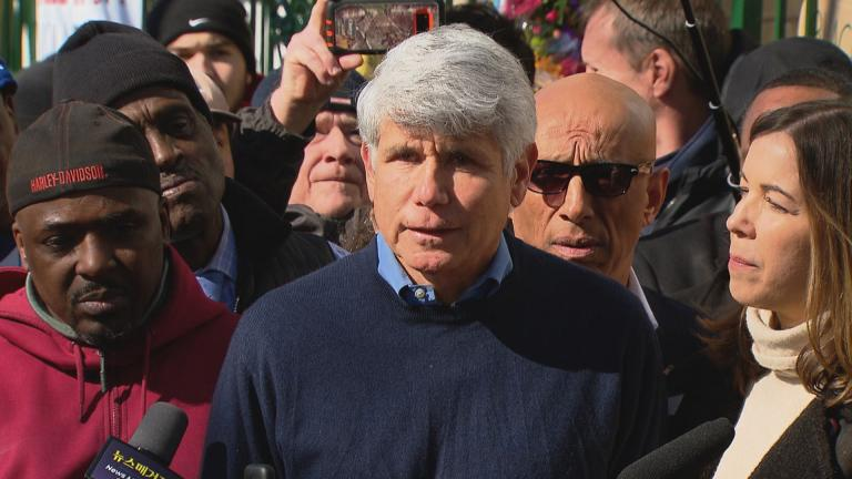 Former Illinois Gov. Rod Blagojevich speaks to the media on Wednesday, Feb. 19, 2020. (WTTW News)