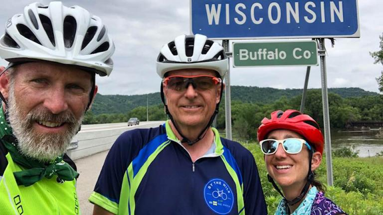Fort Collins, Colorado residents Bob Houser (from left) and Bob Falkenberg are cycling across the country with Washington, D.C. resident Annie Lipsitz to raise funds for Be the Match, a nonprofit that helps patients who need bone marrow or umbilical cord transplants. (Bob Houser / Facebook)