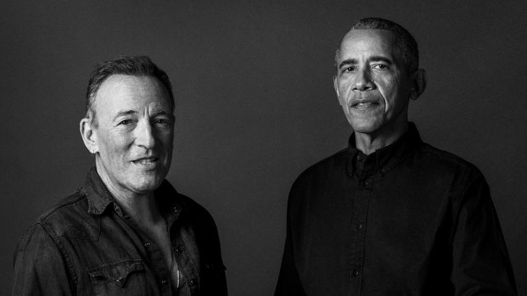 In this image provided by Rob DeMartin, former President Barack Obama and musician Bruce Springsteen pose for a photo. (Rob DeMartin via AP)