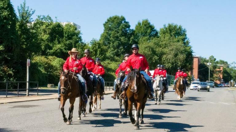 "Veterans ride through Washington, D.C. on Sept. 7, 2019 as part of BraveHearts' ""Trail to Zero"" campaign. (Courtesy of BraveHearts)"