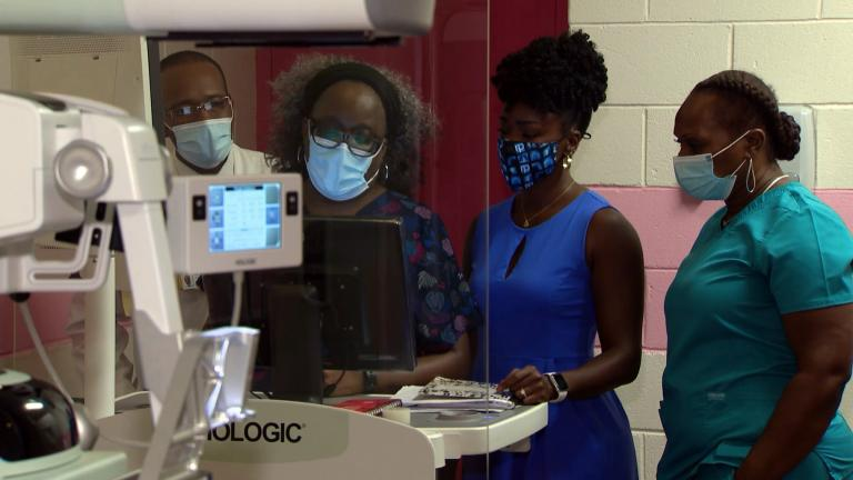 a breast cancer screening is conducted at Jackson Park Hospital. (Courtesy Jackson Park Hospital)