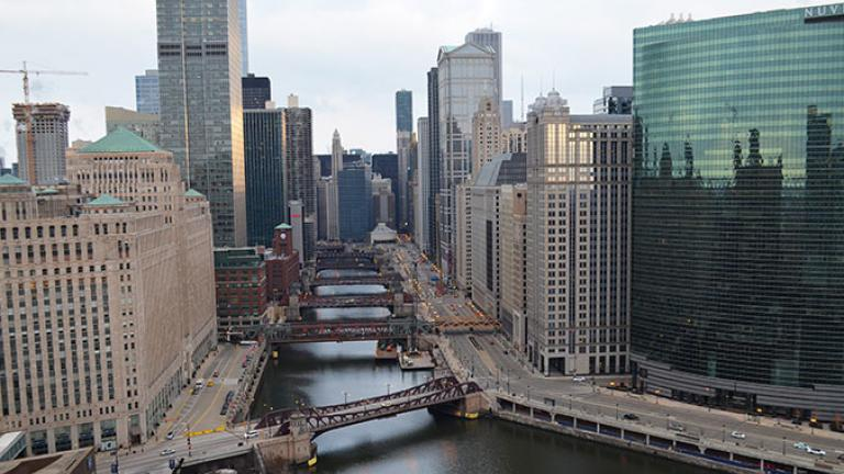 Bridges spanning the Chicago River; credit: Patrick McBriarty