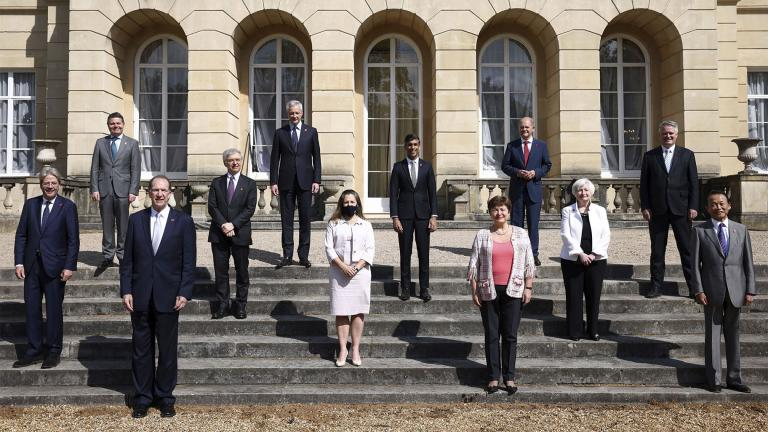 Finance ministers from across the G7 nations meet at Lancaster House in London, Saturday, June 5, 2021 ahead of the G7 leaders' summit. (Henry Nicholls / Pool Photo via AP)