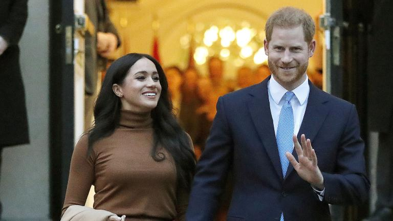 Prince Harry and Meghan, the Duke and Duchess of Sussex, leave after visiting Canada House on Jan. 7, 2020, in London. (AP Photo / Frank Augstein, File)