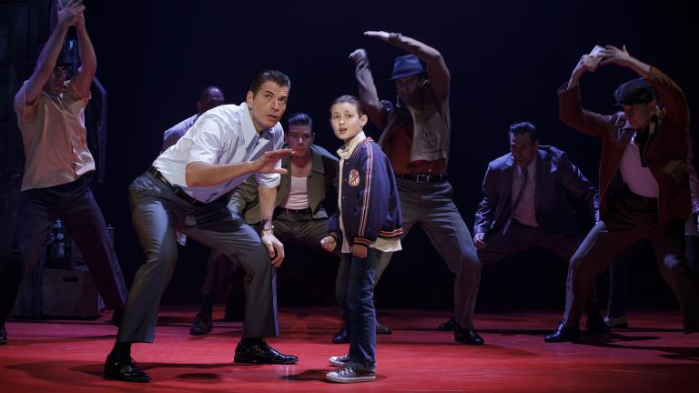 "Joe Barbara, left, Frankie Leoni and company of ""A Bronx Tale."" (Photo: Joan Marcus)"