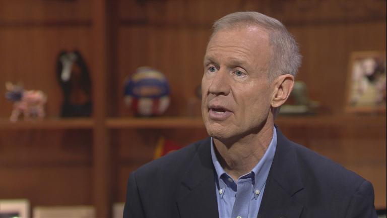 """Gov. Bruce Rauner discusses school funding reform in August on """"Chicago Tonight."""""""