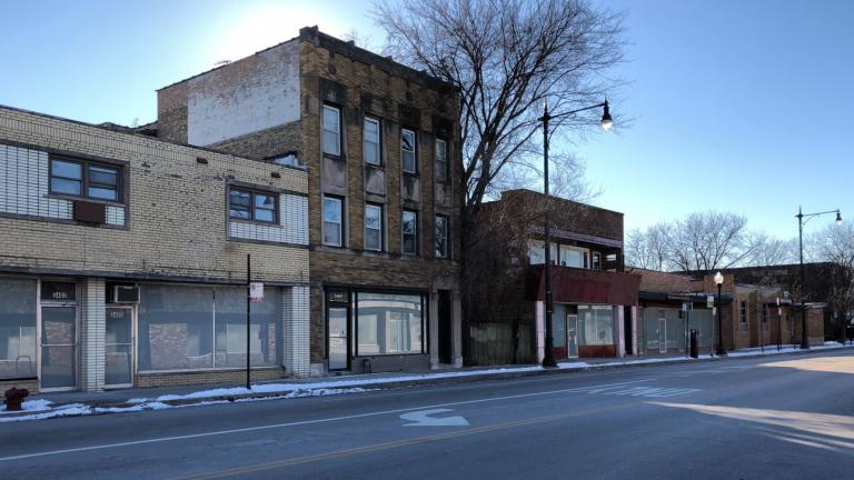 NEIU invoked eminent domain to acquire a block of buildings on Bryn Mawr. (Patty Wetli / WTTW News)