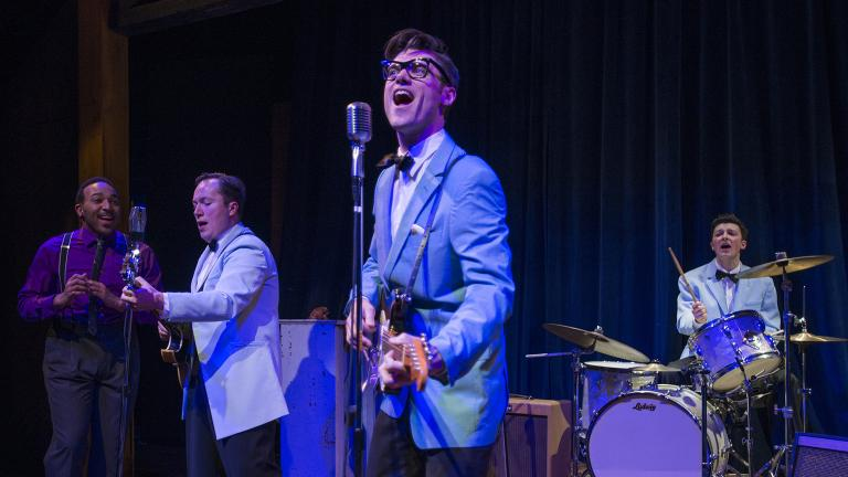 "From left: Chuckie Benson, Michael Mahler, Zachary Stevenson and Kieran McCabe in ""Buddy: The Buddy Holly Story."" (Photo credit: Michael Brosilow)"