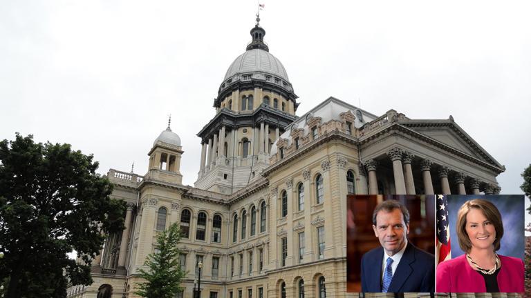 The Illinois State Capitol (Meagan Davis / Wikimedia Commons). Inset: Senate President John Cullerton, Republican Leader Christine Radogno.