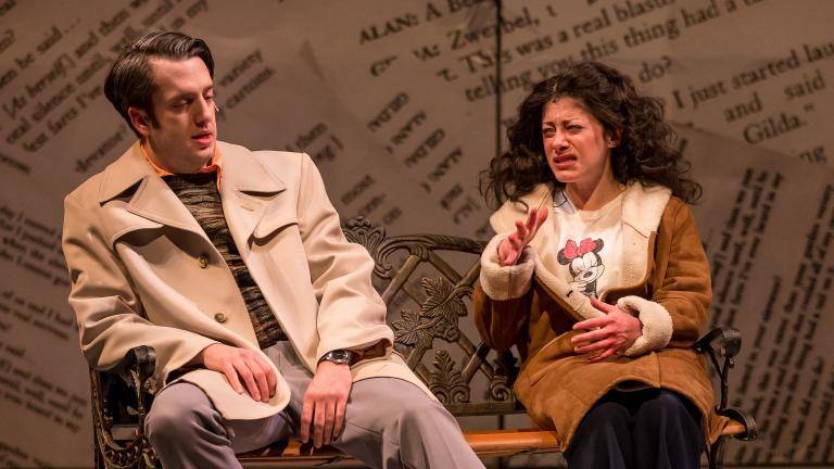 "Jackson Evans as Alan Zweibel and Dana Tretta as Gilda Radner in ""Bunny Bunny"" (Photo: Brett A. Beiner)"