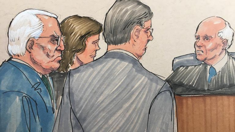In this courtroom sketch, Ald. Ed Burke, left, appears before U.S. Federal Magistrate Judge Jeffrey Cole with his attorneys on Tuesday, June 4, 2019. (Credit: Tom Gianni)