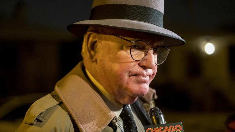 "Ald. Ed Burke speaks to ""Chicago Tonight"" and other media after returning to his home on the Southwest Side on Thursday, Nov. 29, 2018. Earlier in the day, federal agents conducted a raid on his offices. (Brian Cassella / Chicago Tribune via AP)"