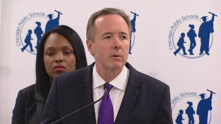 Chicago Public Schools CEO Forrest Claypool speaks on Aug. 8 about cash-strapped district's proposed 2017 budget. On Friday, Claypool attended a pair of public hearings on the proposal.