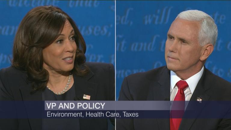 U.S. Sen. Kamala Harris and Vice President Mike Pence participate in a debate Wednesday, Oct. 7, 2020. (WTTW News via CNN)