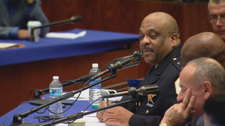 Eddie Johnson appears before City Council on Tuesday.