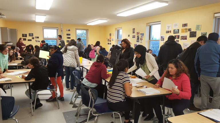 Twenty-seven families gathered together at the John Hancock High School in early March to attend an emergency family planning workshop. (Courtesy of  Antonio Gutierrez)