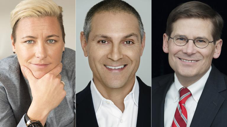 From left: Abby Wambach, Ari Emanuel and Michael Morell take part in this year's Chicago Ideas Week. (Courtesy of Chicago Ideas Week)