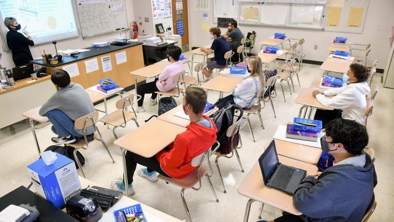 Desks in the classroom are doubled to provide extra spacing at Wilson High School in West Lawn, Pennsylvania, on October 22, 2020. (Ben Hasty / Getty Images)
