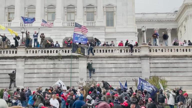 Protesters storm the U.S. Capitol on Wednesday, Jan. 6, 2021. (WTTW News via CNN)