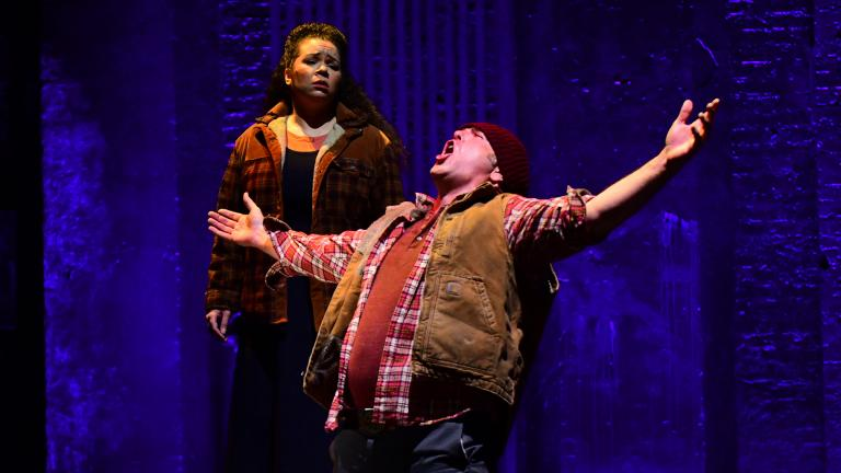 """Leah Dexter and Michael Mayes in """"Taking Up Serpents."""" (Sean Su / Chicago Opera Theater)"""