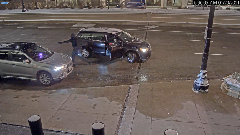 Chicago police released video of a vehicular hijacking that took place early Wednesday morning in the 200 block of South Wacker Drive. (Chicago Police Department)