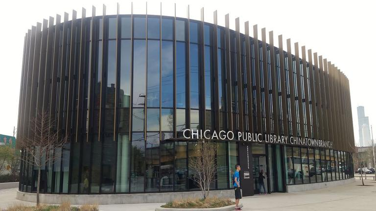 The Chicago Public Library's revamped Chinatown branch opened last year with a feng shui-influenced interior design and expansive views of the city. A design competition for three new CPL branches kicks off next year. (Steven Kevil / Wikimedia Commons)