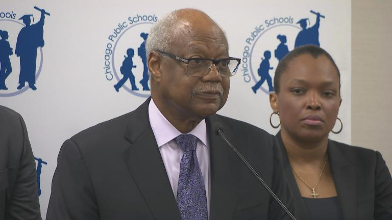 Chicago Board of Education President Frank Clark and CPS CEO Janice Jackson speak to the media Tuesday, June 12, 2018. (Chicago Tonight)