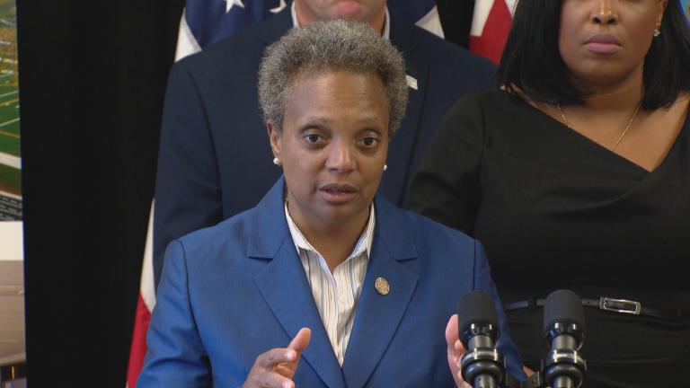Mayor Lori Lightfoot speaks to reporters at a press conference to release the district's budget proposal on Aug. 8, 2019. (WTTW News)