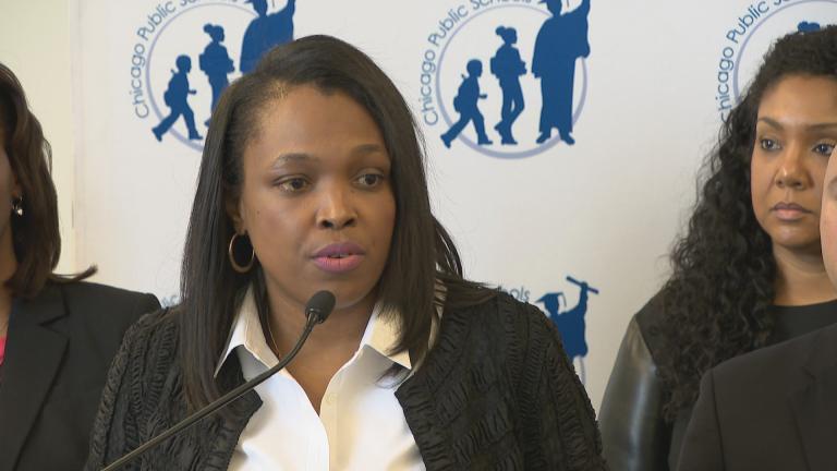 Chicago Public Schools CEO Janice Jackson speaks about the district budget on April 17, 2018.