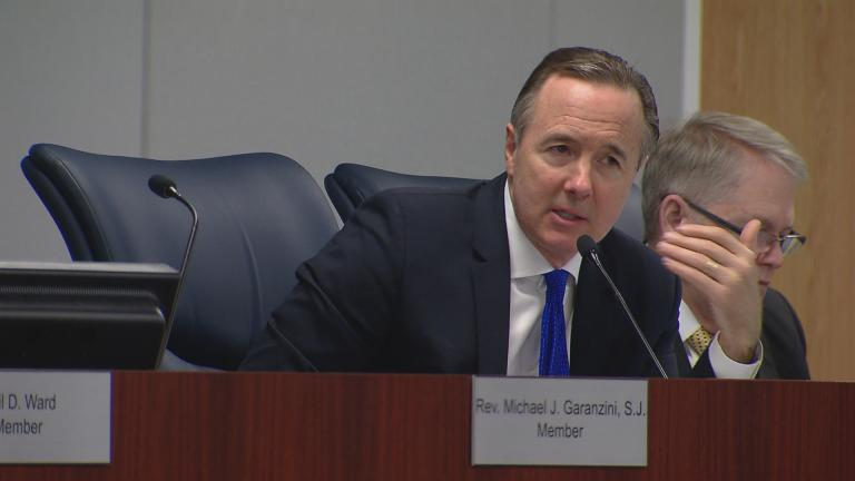 CPS CEO Forrest Claypool speaks in Dec 2016 at a Chicago Board of Education meeting. During Wednesday's meeting, he offered no new details on the district's plan for the end of the school year. (Chicago Tonight)